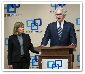 Ann McConn, Fargo/West Fargo President of Alerus Financial (left); and Tom Dawson, President of Dawson Insurance (right).