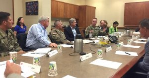 Lt. Gen. Todd Semonite visits with local officials.