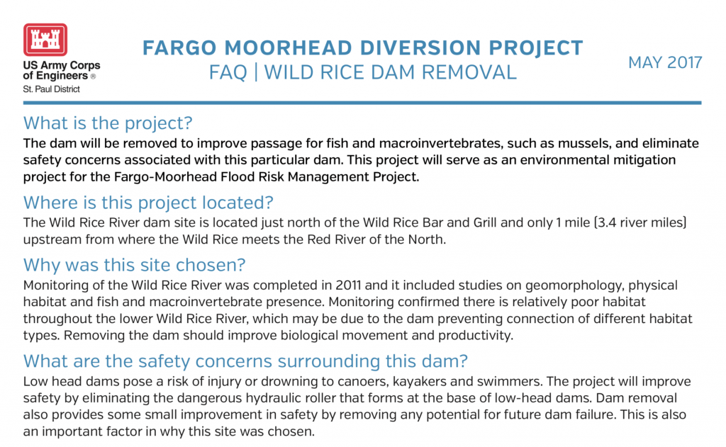 Wild Rice Dam Removal FAQ – May 2017 – U.S. Army Corps of Engineers