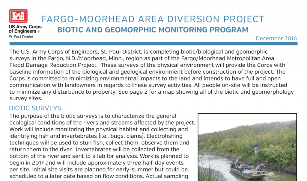 Biotic and Geomorphic Monitoring – Dec. 2016 – U.S. Army Corps of Engineers