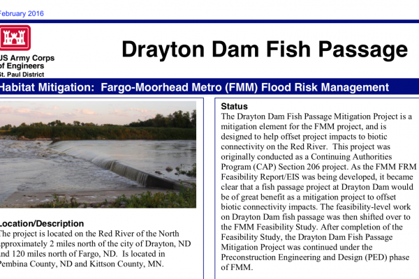 Drayton Fish Passage Mitigation – Jan. 2016 – U.S. Army Corps of Engineers