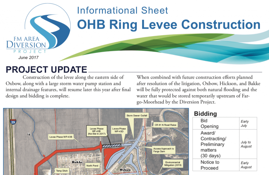 OHB Ring Levee Construction – June 2017 – Diversion Authority