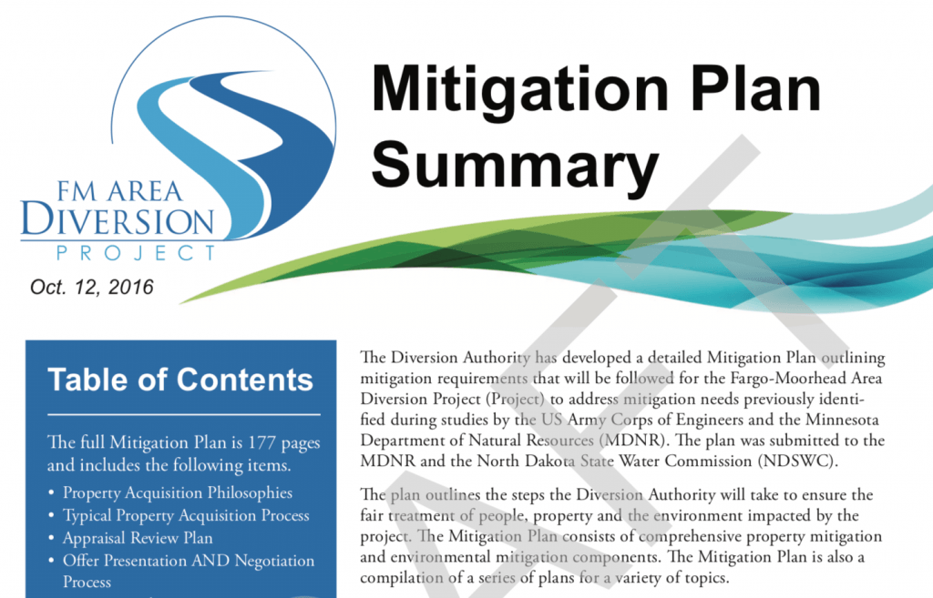 Draft Mitigation Plan – Oct. 2016 – Diversion Authority