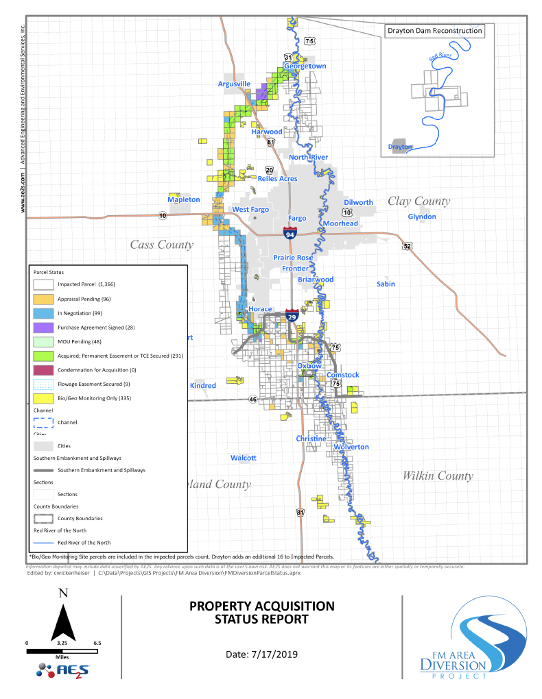 July 2019 Property Acquisition Status Map